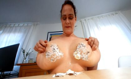 Cleo Smashes Chocolate Marshmallows with Her Big Boobs Messy Cleo