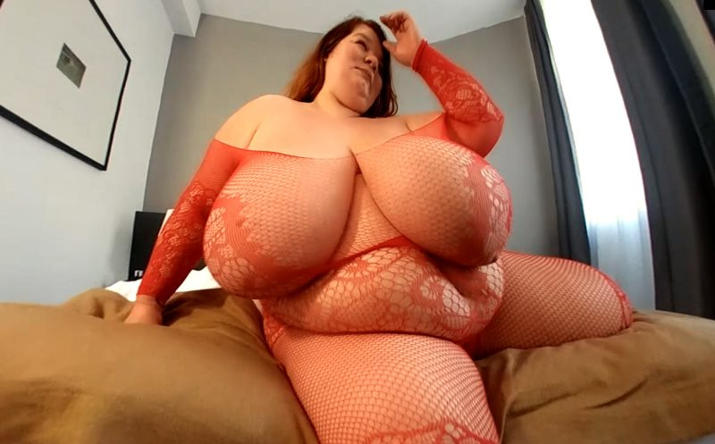 Lexxxi's Giant Breasts in a Hot Red Lingerie Lexxxi Luxe