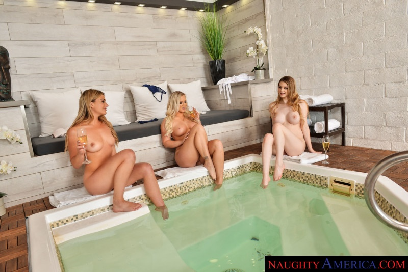 Bailey Brooke, Bunny Colby, and Serena Avery tag team the masseuse Serena Avery, Brad Newman, Bailey Brooke, Bunny Colby