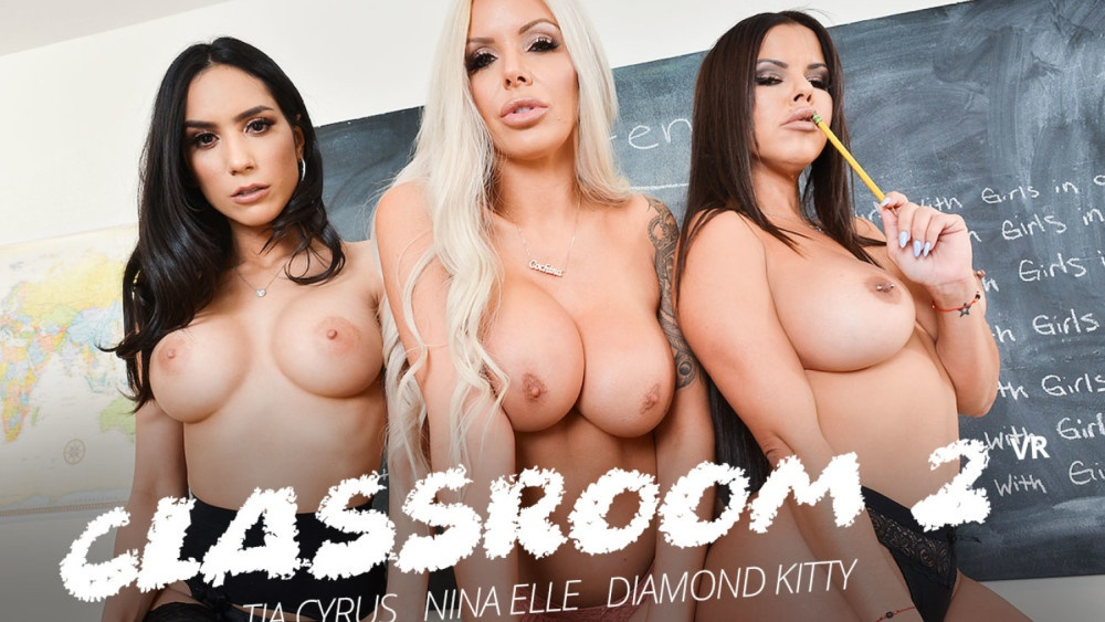 Detention time with Diamond Kitty, Nina Elle, and Tia Cyrus Brad Sterling, Diamond Kitty, Tia Cyrus, Nina Elle