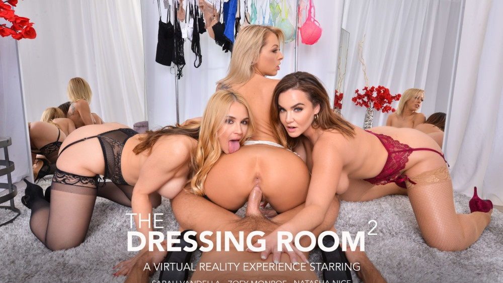 Foursome in the Dressing Room Natasha Nice, Zoey Monroe, Sarah Vandella, Johnny Castle