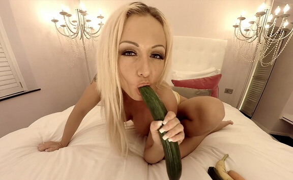 Milena Likes to Fuck Her Veggies - Busty Blonde Toying Milena Star