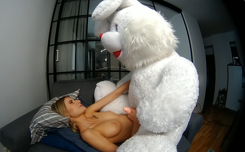 Lucy K First VR; Furry Stuffed Animal Blowjob and Fuck Lucy K