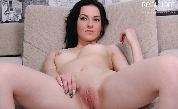 Playful Angy - Shaved Brunette Toying Angy
