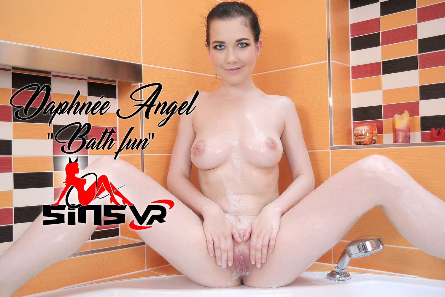 Daphnee Angel - Bath Fun; Busty Brunette Solo Daphne Angel