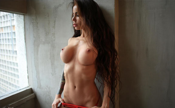 Fit, Busty Brunette Strips - Solo Model with Huge Tits PhenyQ