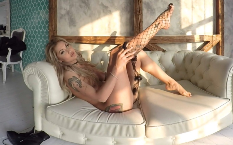 Stasy In Fishnets - Blonde with Big Tits Strips MiamiQ