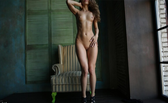 Tight, Sexy Blonde with Shaved Pussy Strips - Russian Solo Model Striptease LisyQ