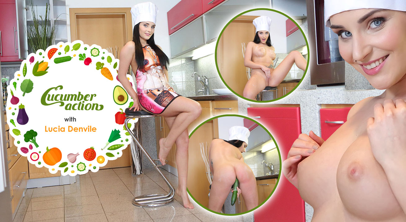 Babe plays with cucumber Lucia Denvile