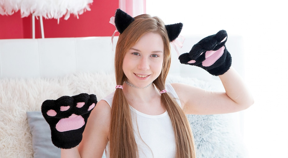 Fluffy paws on gentle pussy Alice Klay