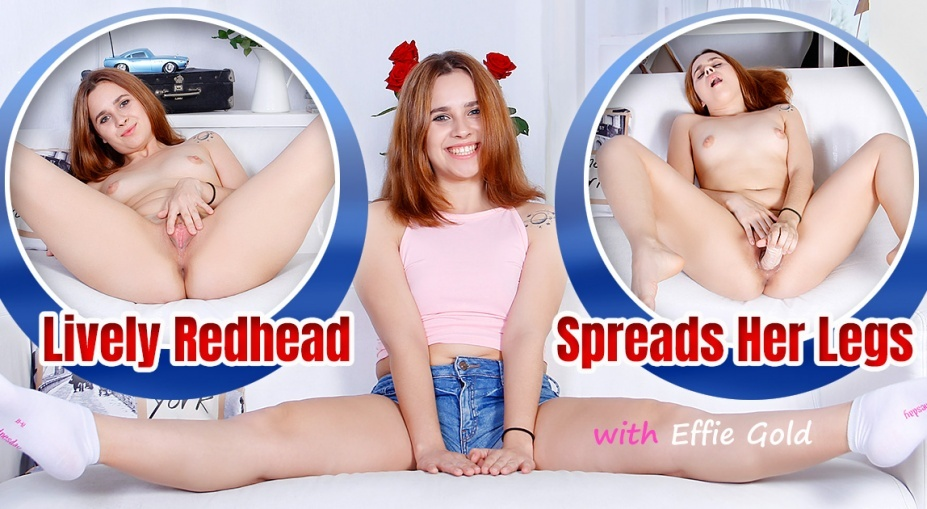 Lively Redhead Spreads Her Legs Effie Gold
