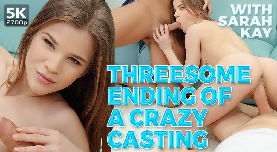 Threesome ending of a crazy casting Sarah Kay