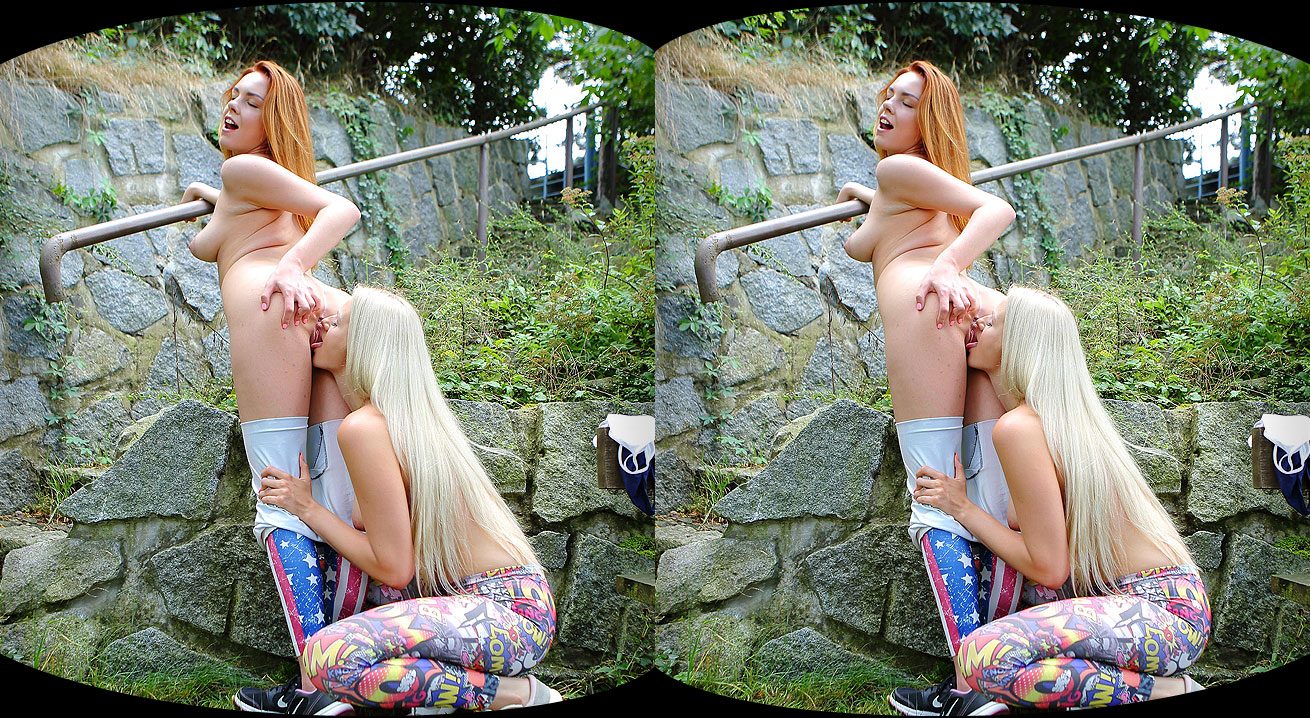 Yoga lesbians orgasm outdoors Katy Sky, Candy Red