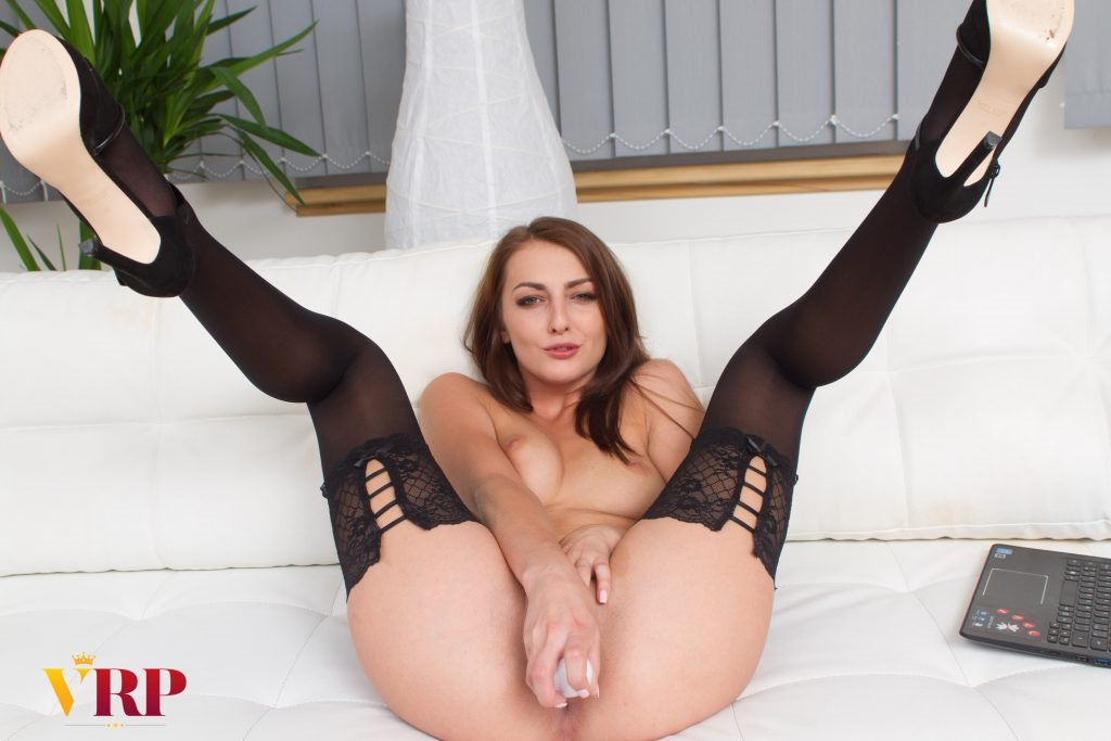 Working Girl - Beautiful Brunette Solo with Toy Katy Rose