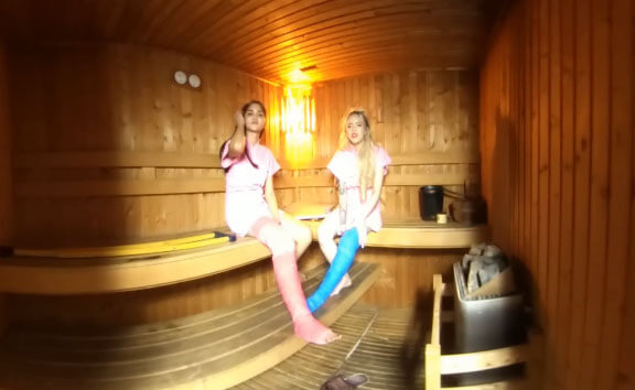 2 Girls With Long Cast Leg In Sauna (LCL)
